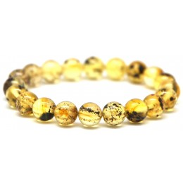 Round beads Baltic amber bracelet 9 mm.